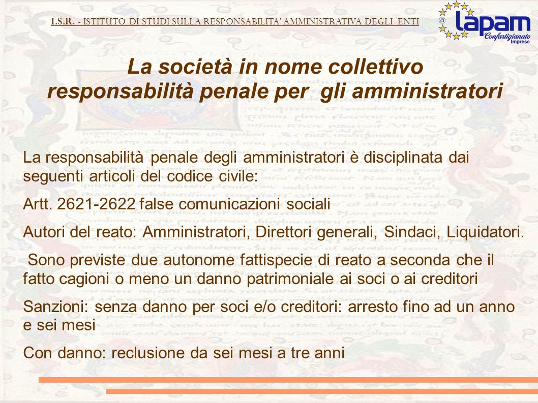 La società in nome collettivo responsabilità penale per gli amministratori