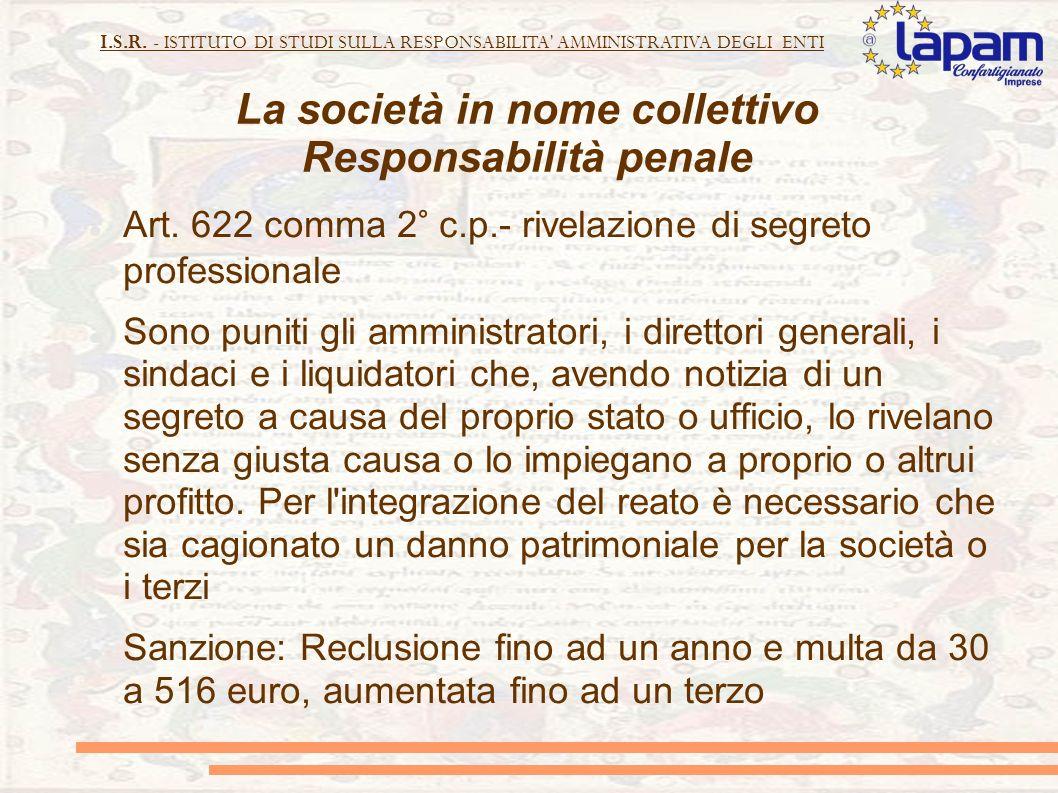 La società in nome collettivo Responsabilità penale