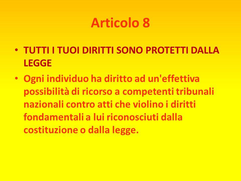 Articolo 8 TUTTI I TUOI DIRITTI SONO PROTETTI DALLA LEGGE
