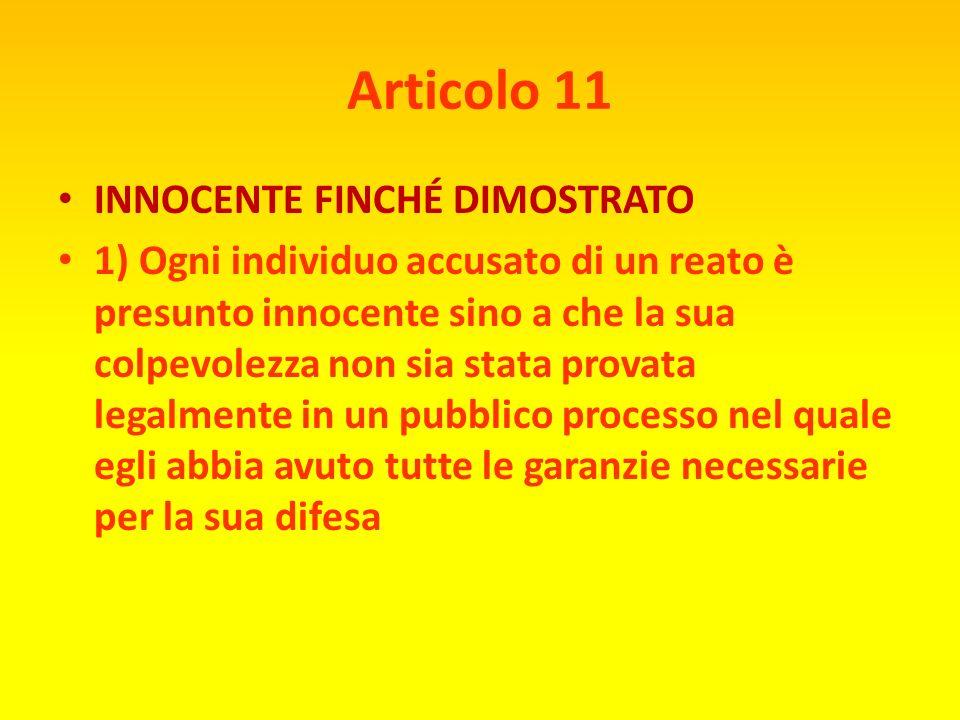 Articolo 11 INNOCENTE FINCHÉ DIMOSTRATO