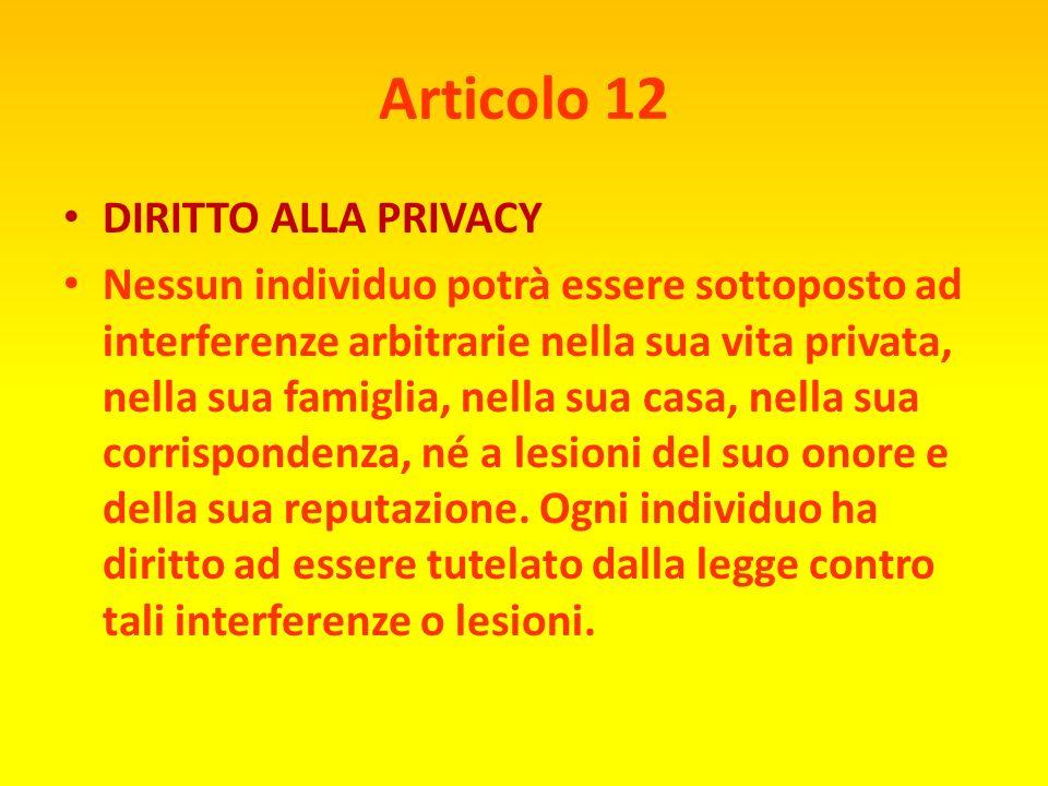 Articolo 12 DIRITTO ALLA PRIVACY