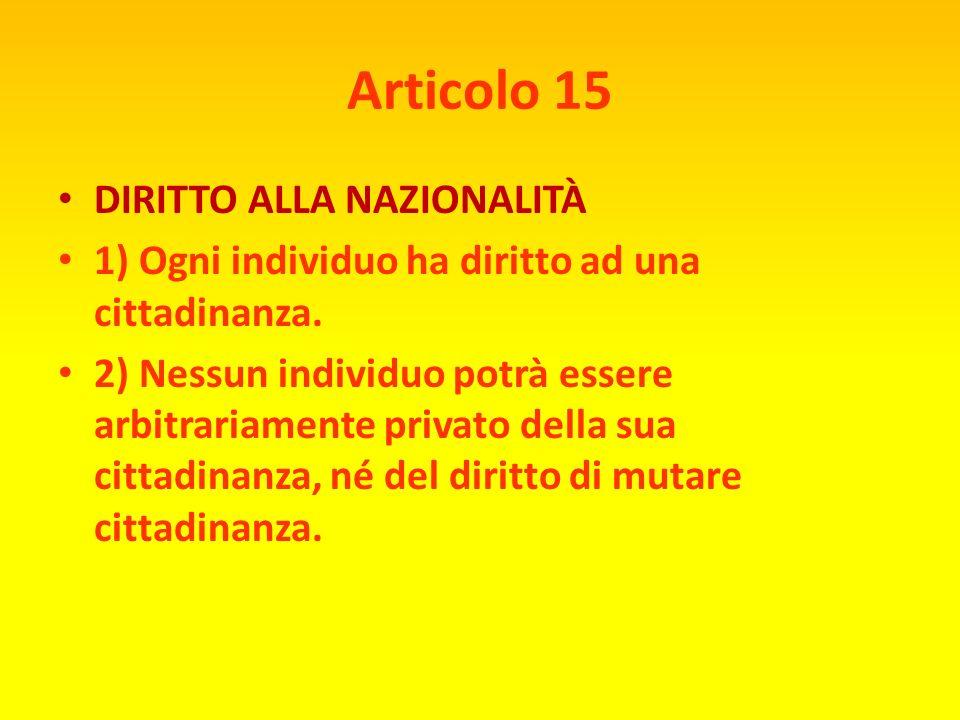 Articolo 15 DIRITTO ALLA NAZIONALITÀ