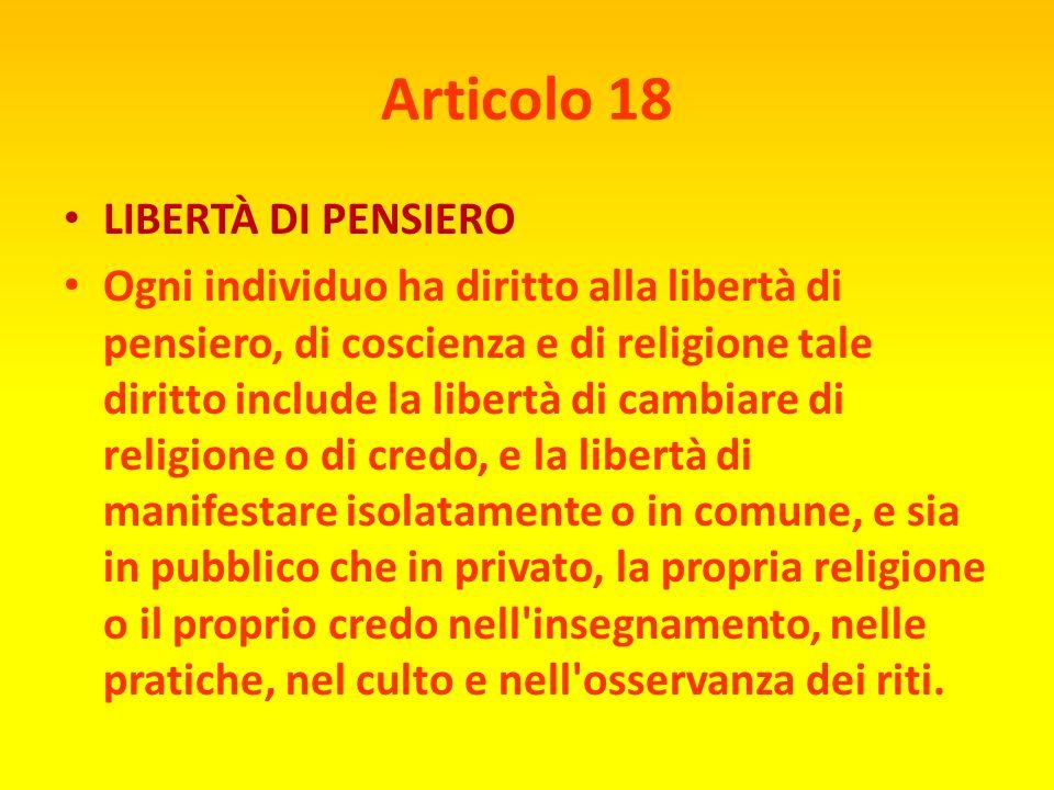 Articolo 18 LIBERTÀ DI PENSIERO