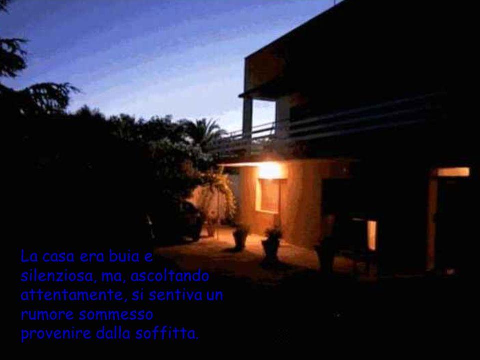 La casa era buia e silenziosa, ma, ascoltando attentamente, si sentiva un rumore sommesso provenire dalla soffitta.