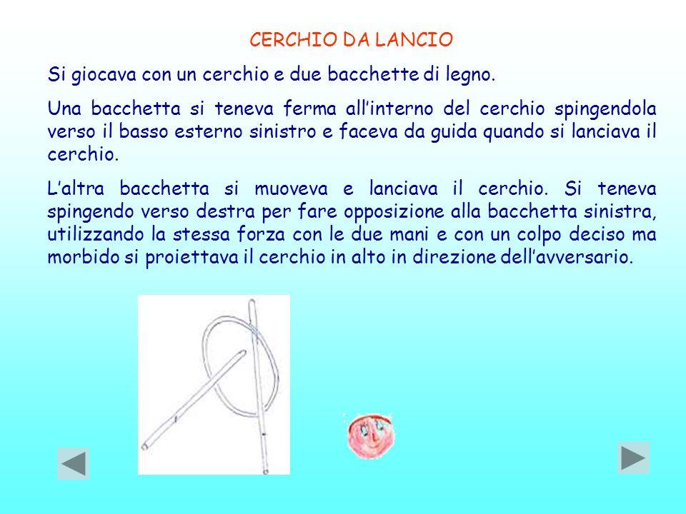 CERCHIO DA LANCIO Si giocava con un cerchio e due bacchette di legno.