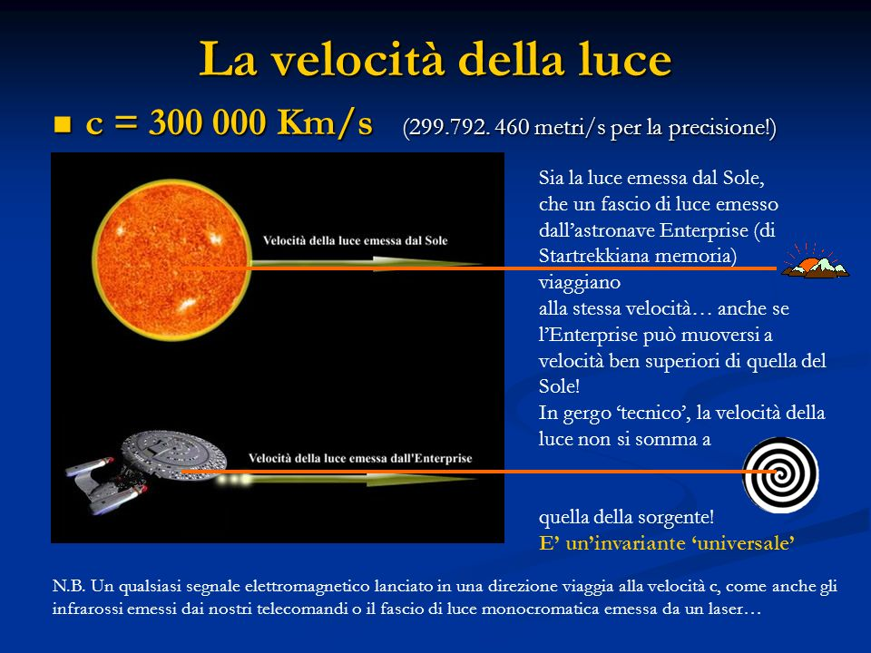 La velocità della luce c = 300 000 Km/s (299.792. 460 metri/s per la precisione!) Sia la luce emessa dal Sole,
