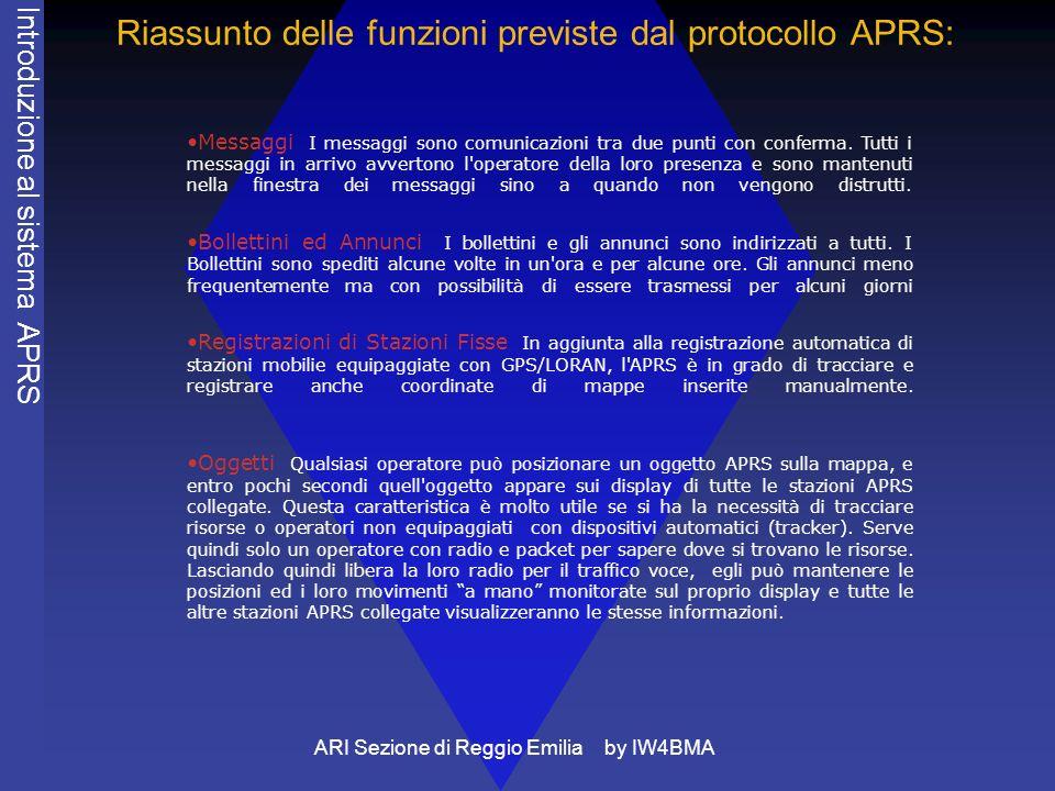 Riassunto delle funzioni previste dal protocollo APRS: