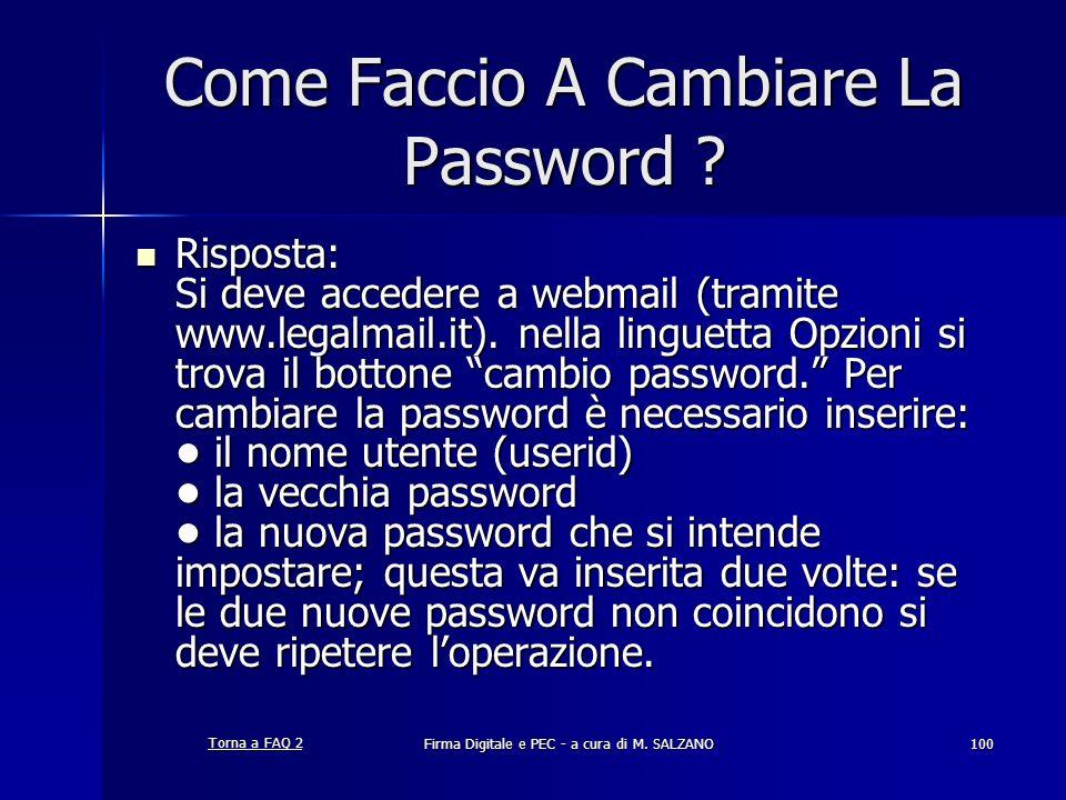 Come Faccio A Cambiare La Password