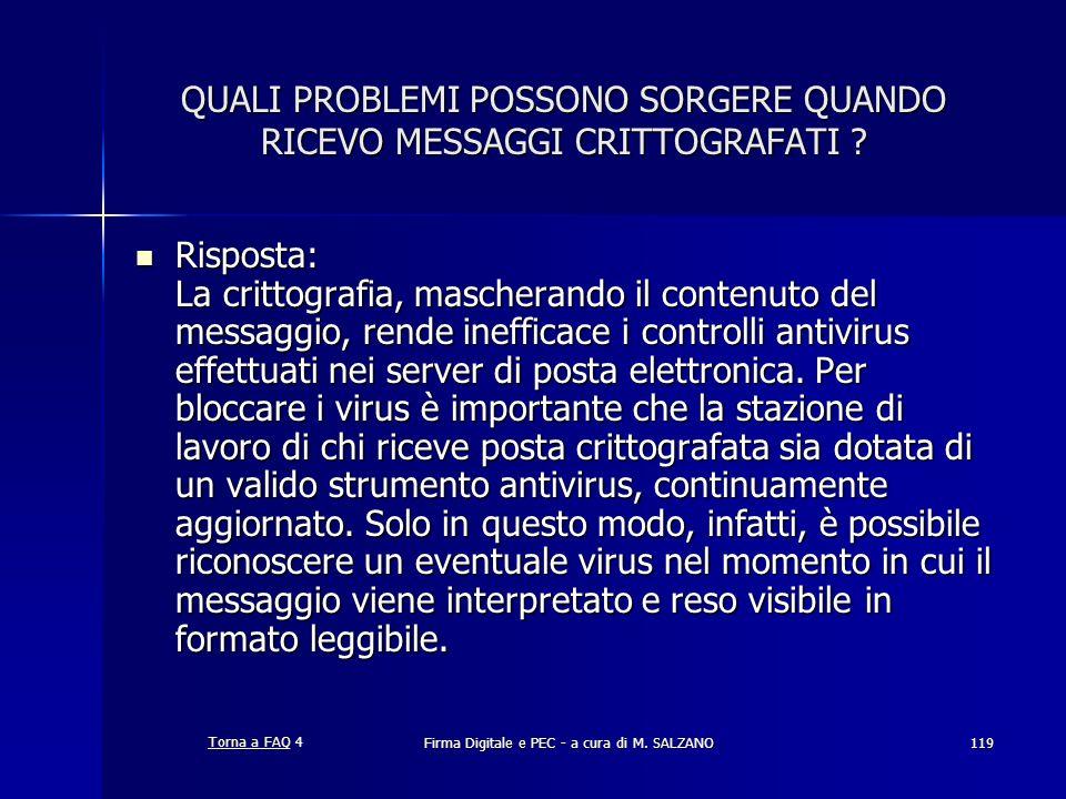 QUALI PROBLEMI POSSONO SORGERE QUANDO RICEVO MESSAGGI CRITTOGRAFATI