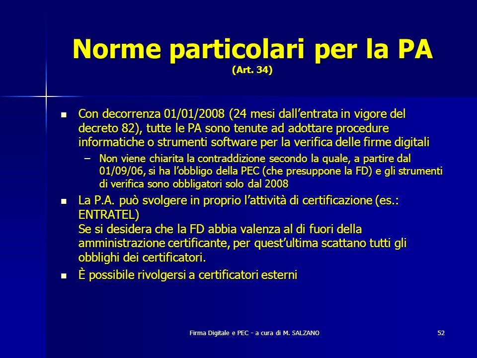 Norme particolari per la PA (Art. 34)