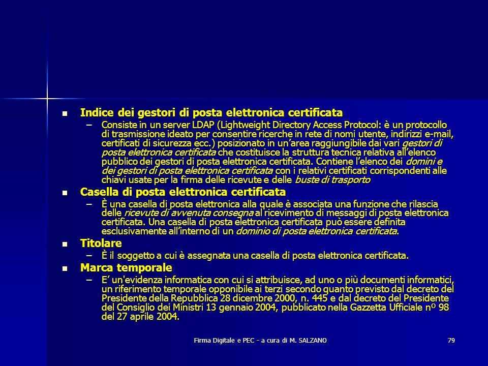 Firma Digitale e PEC - a cura di M. SALZANO