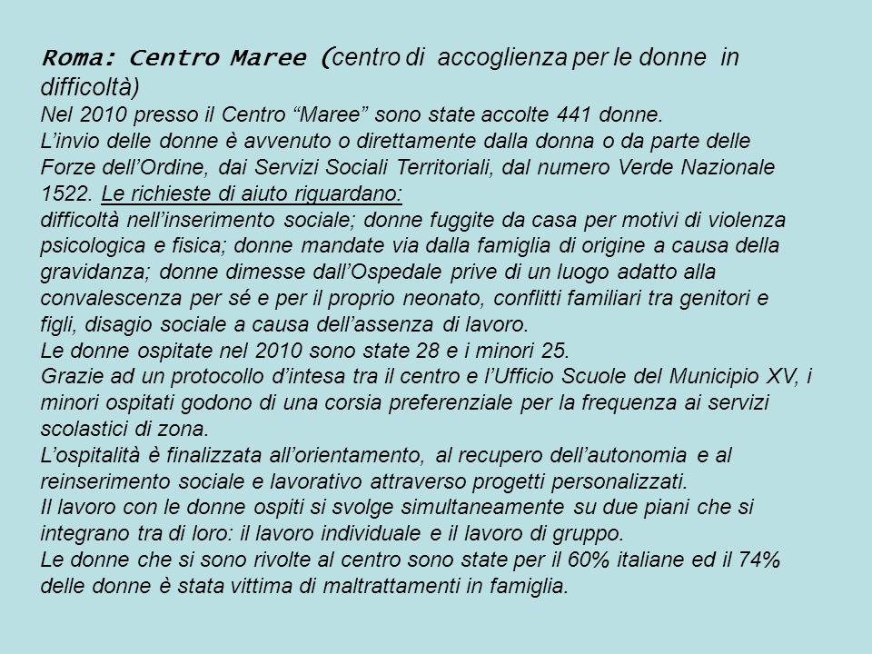 Roma: Centro Maree (centro di accoglienza per le donne in difficoltà)