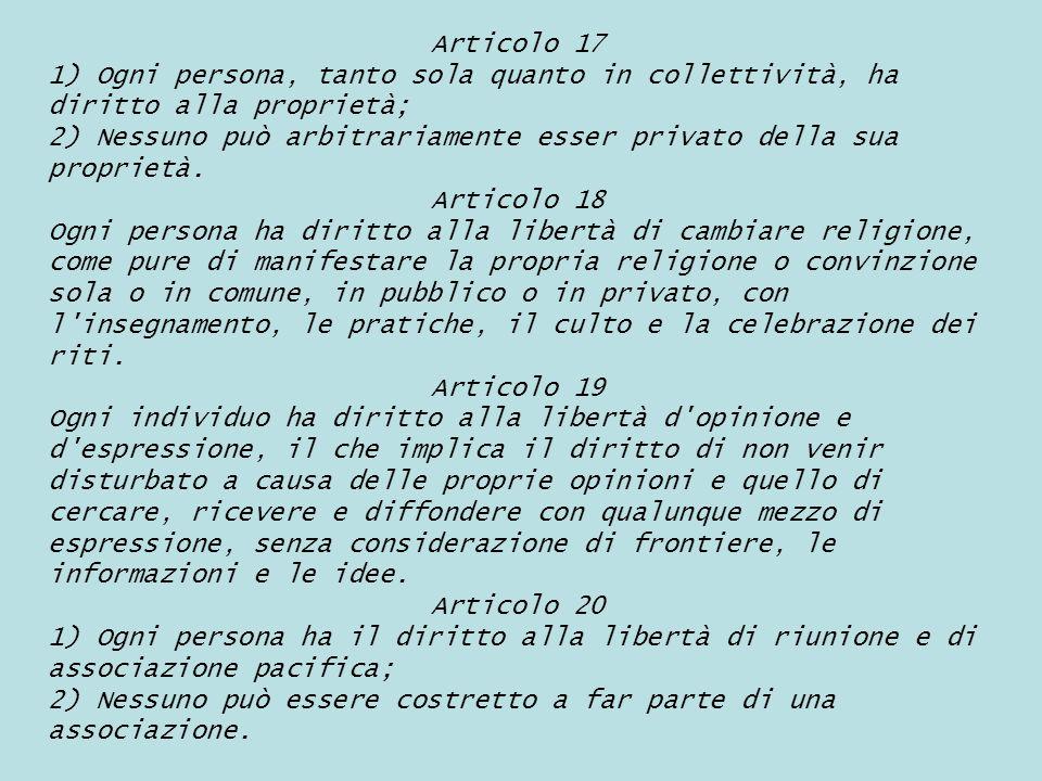 Articolo 17 1) Ogni persona, tanto sola quanto in collettività, ha diritto alla proprietà;