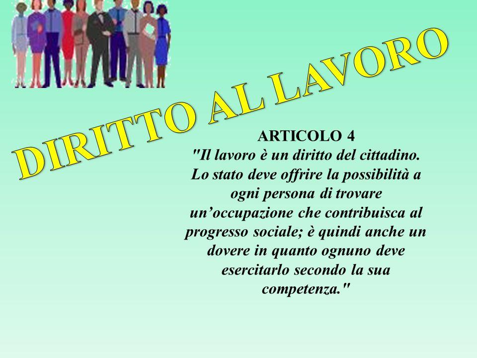 DIRITTO AL LAVORO ARTICOLO 4