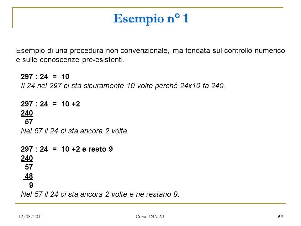 Esempio n° 1 Esempio di una procedura non convenzionale, ma fondata sul controllo numerico e sulle conoscenze pre-esistenti.