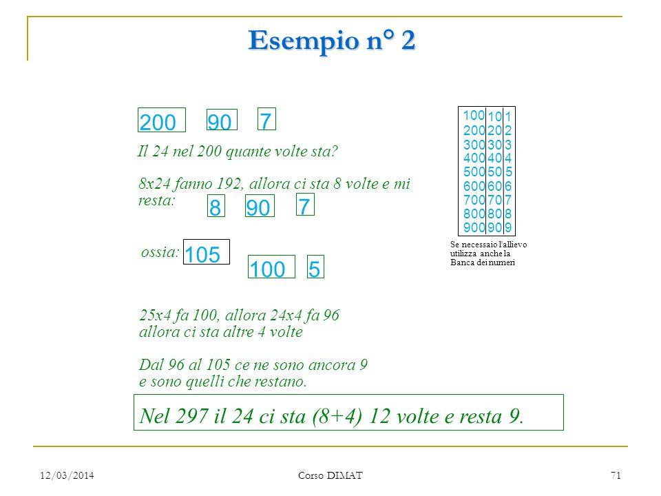 Esempio n° 2 Il 24 nel 200 quante volte sta 200. 90. 7. 8x24 fanno 192, allora ci sta 8 volte e mi.
