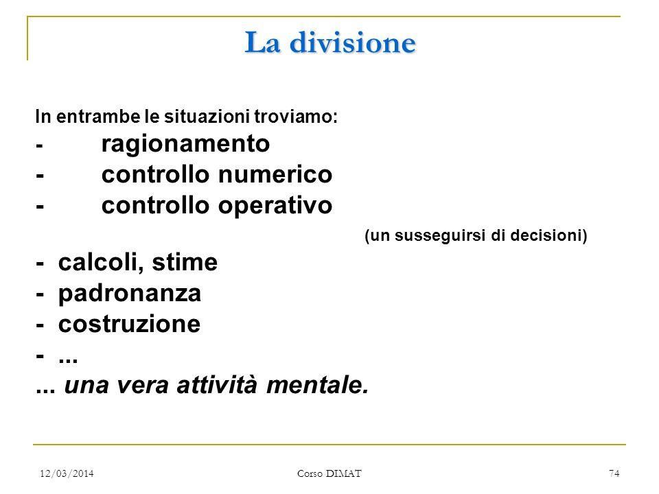 La divisione - controllo numerico - controllo operativo