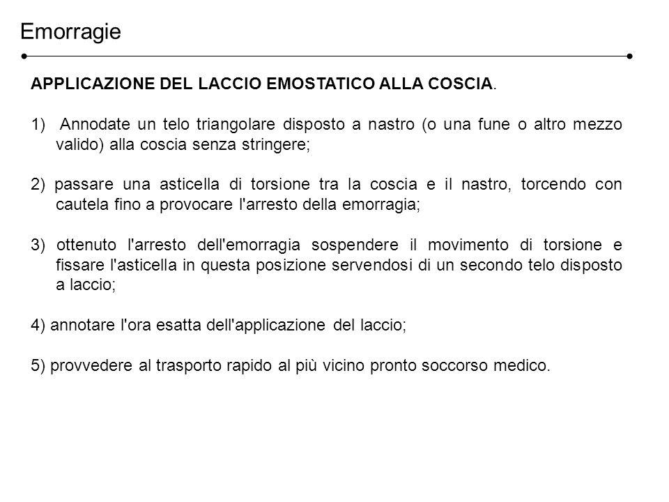 Emorragie APPLICAZIONE DEL LACCIO EMOSTATICO ALLA COSCIA.