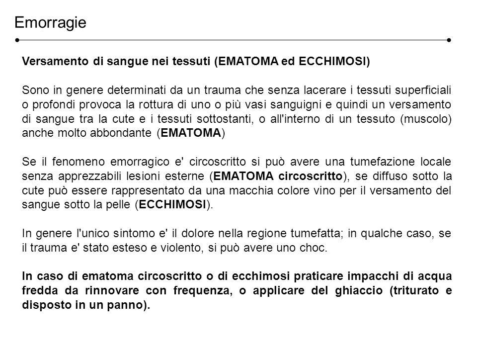 Emorragie Versamento di sangue nei tessuti (EMATOMA ed ECCHIMOSI)