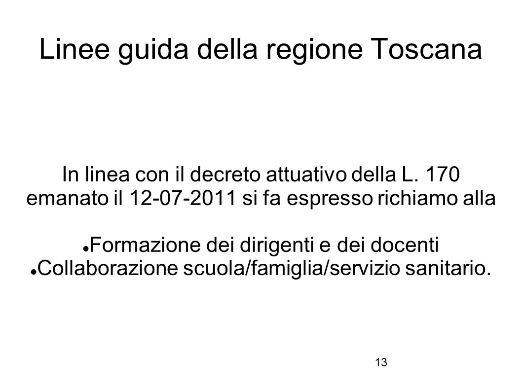 Linee guida della regione Toscana
