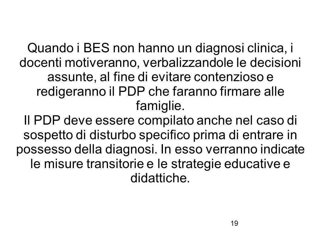 Quando i BES non hanno un diagnosi clinica, i docenti motiveranno, verbalizzandole le decisioni assunte, al fine di evitare contenzioso e redigeranno il PDP che faranno firmare alle famiglie.