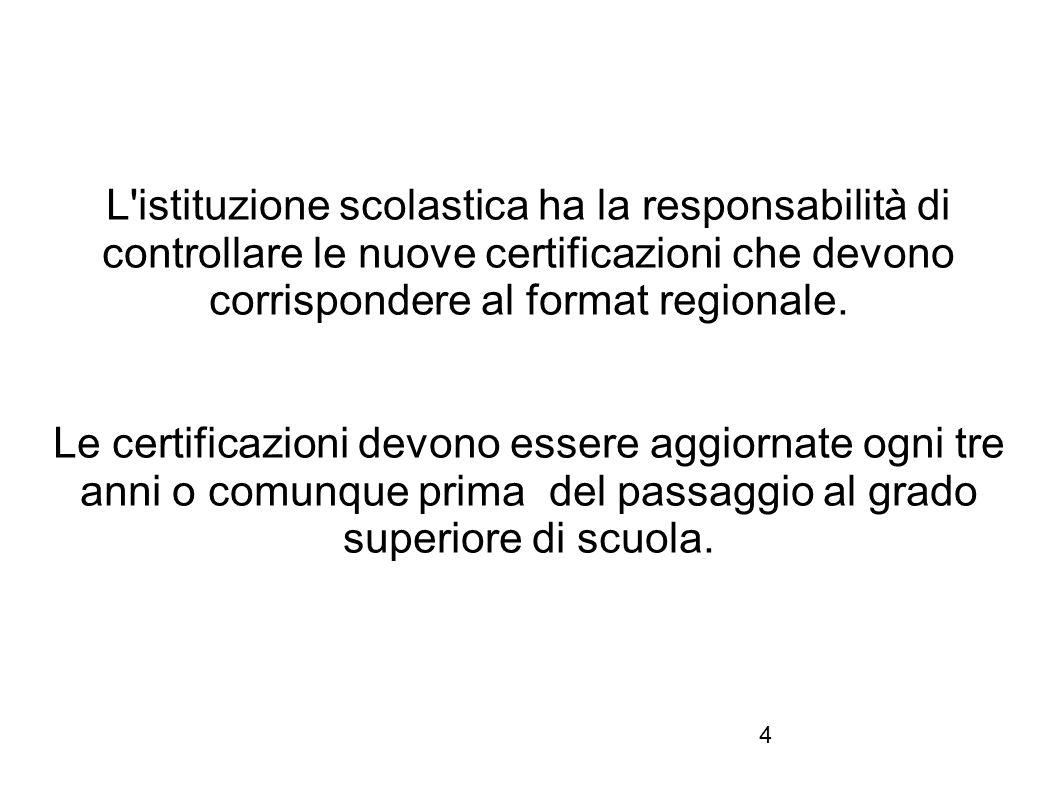 L istituzione scolastica ha la responsabilità di controllare le nuove certificazioni che devono corrispondere al format regionale.