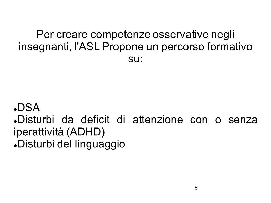 Per creare competenze osservative negli insegnanti, l ASL Propone un percorso formativo su: