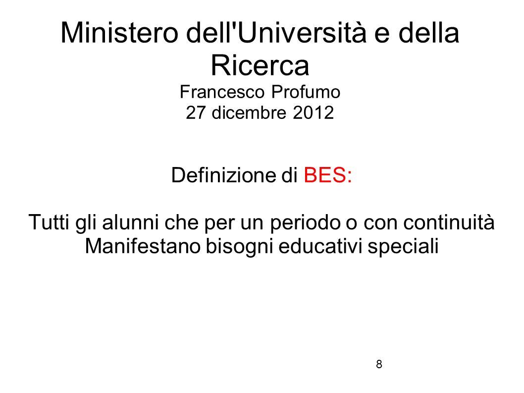 Ministero dell Università e della Ricerca Francesco Profumo 27 dicembre 2012