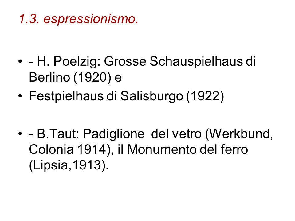 1.3. espressionismo. - H. Poelzig: Grosse Schauspielhaus di Berlino (1920) e. Festpielhaus di Salisburgo (1922)