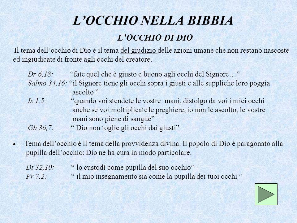 L'OCCHIO NELLA BIBBIA L'OCCHIO DI DIO