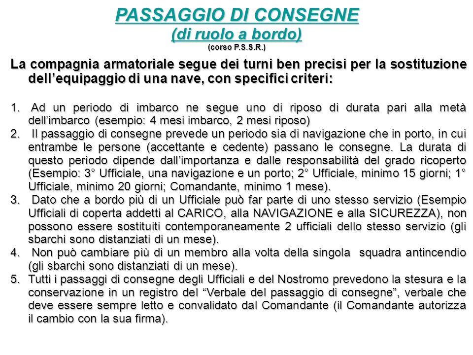 PASSAGGIO DI CONSEGNE (di ruolo a bordo)