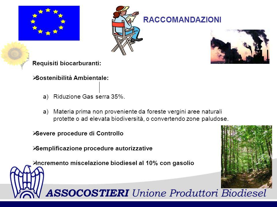 RACCOMANDAZIONI Requisiti biocarburanti: Sostenibilità Ambientale: