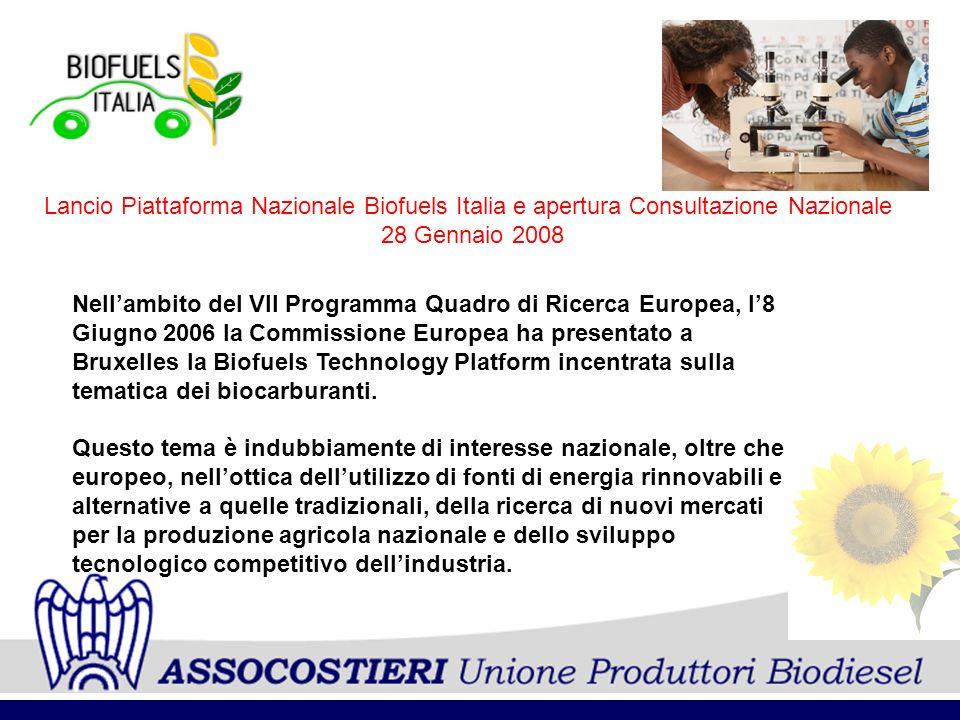 Lancio Piattaforma Nazionale Biofuels Italia e apertura Consultazione Nazionale