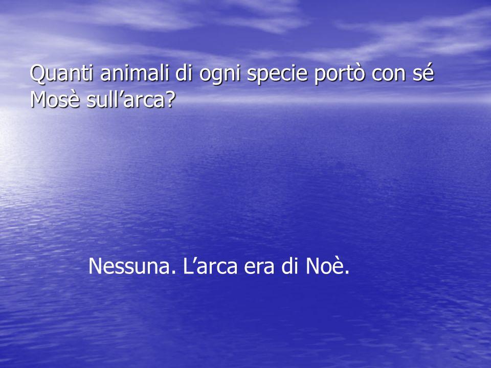 Quanti animali di ogni specie portò con sé Mosè sull'arca