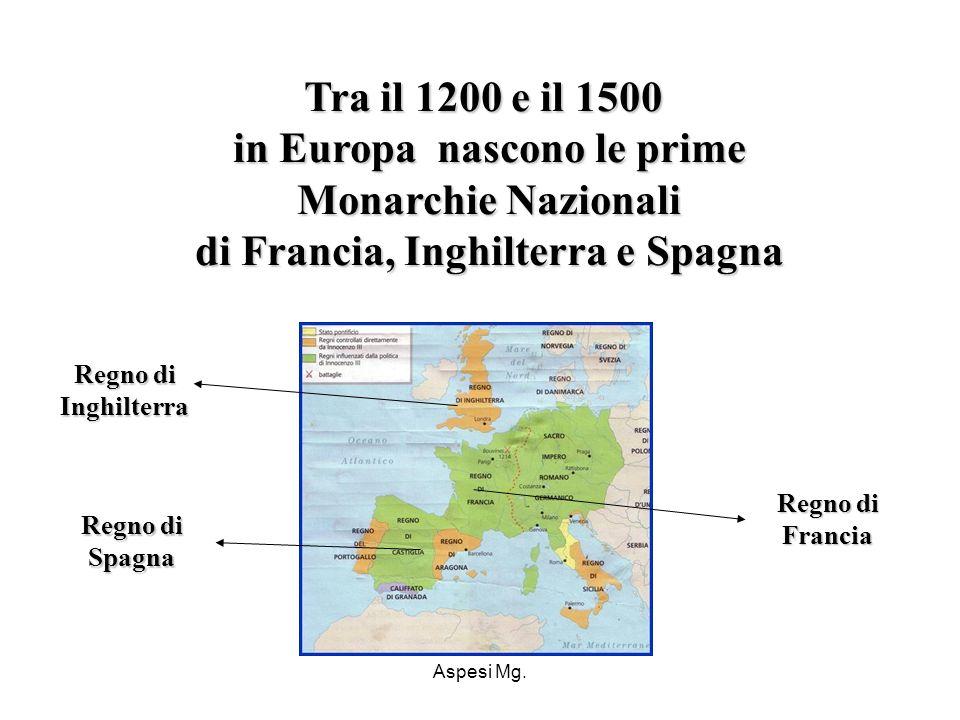 Tra il 1200 e il 1500 in Europa nascono le prime Monarchie Nazionali di Francia, Inghilterra e Spagna
