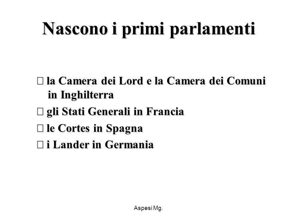 Nascono i primi parlamenti
