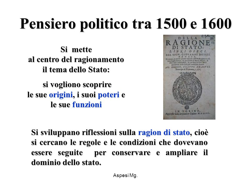 Pensiero politico tra 1500 e 1600