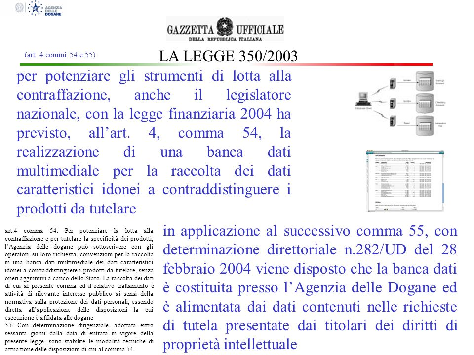 LA LEGGE 350/2003 (art. 4 commi 54 e 55)