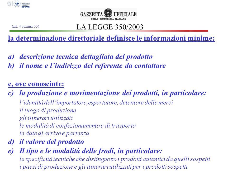 la determinazione direttoriale definisce le informazioni minime: