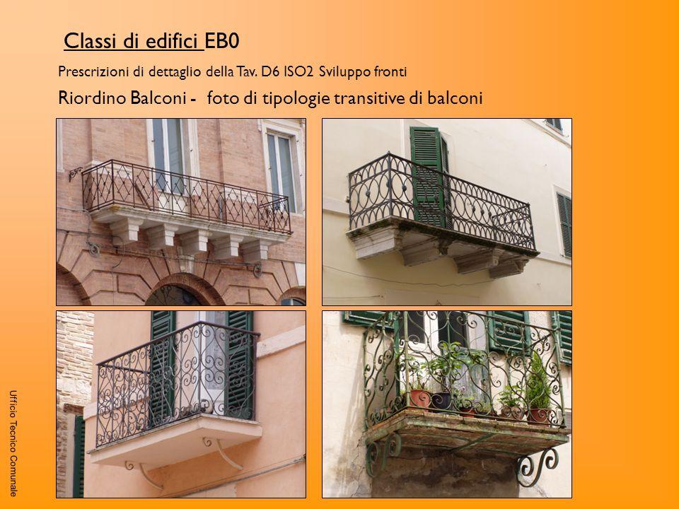 Classi di edifici EB0 Prescrizioni di dettaglio della Tav. D6 ISO2 Sviluppo fronti. Riordino Balconi - foto di tipologie transitive di balconi.