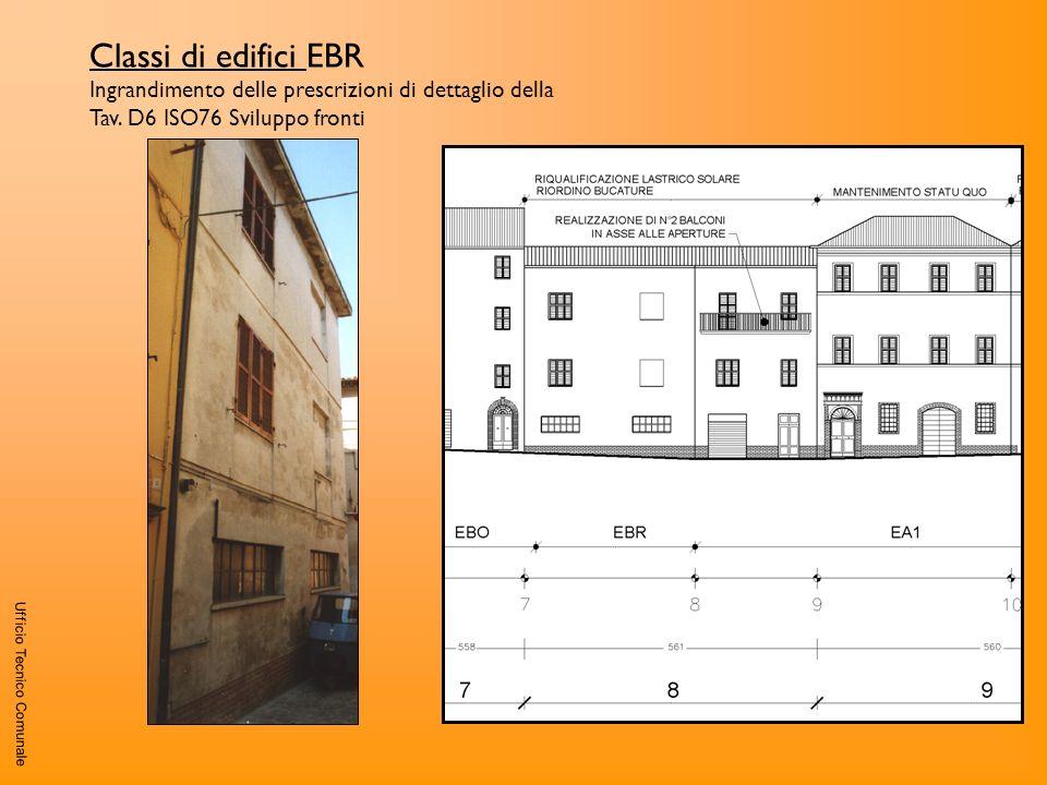 Classi di edifici EBR Ingrandimento delle prescrizioni di dettaglio della Tav. D6 ISO76 Sviluppo fronti