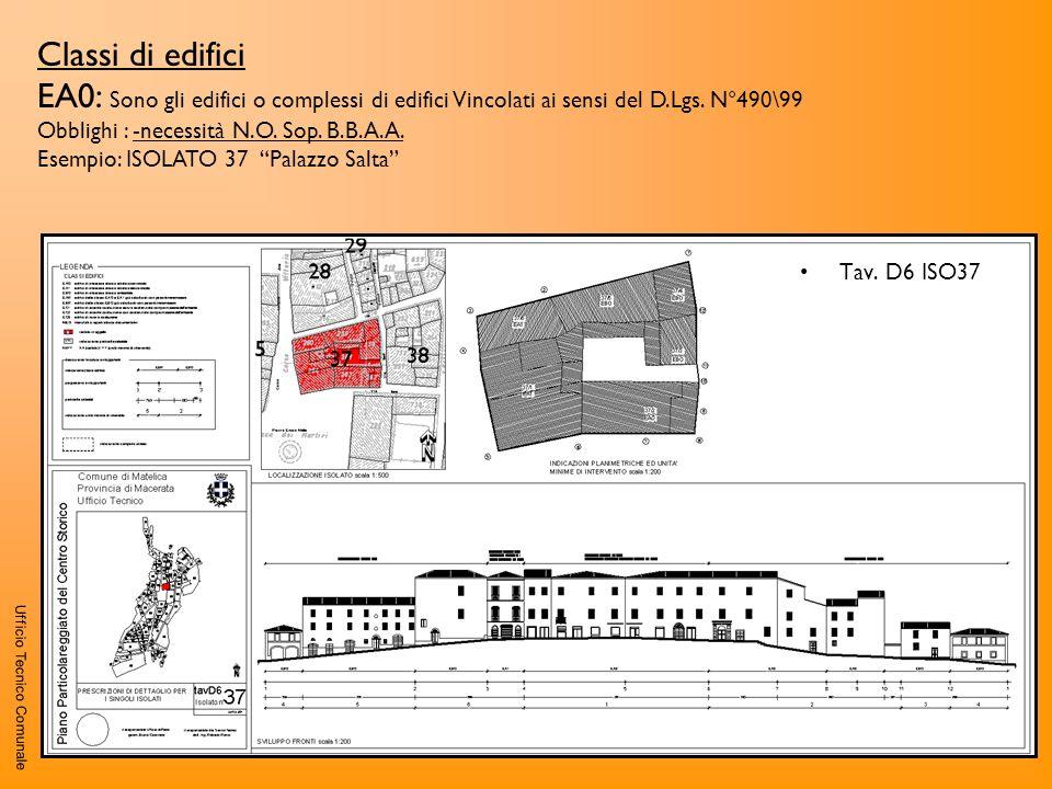 Classi di edifici EA0: Sono gli edifici o complessi di edifici Vincolati ai sensi del D.Lgs. N°490\99.