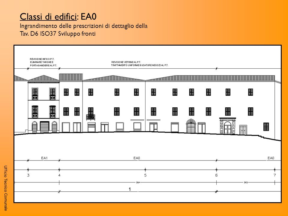 Classi di edifici: EA0 Ingrandimento delle prescrizioni di dettaglio della Tav. D6 ISO37 Sviluppo fronti