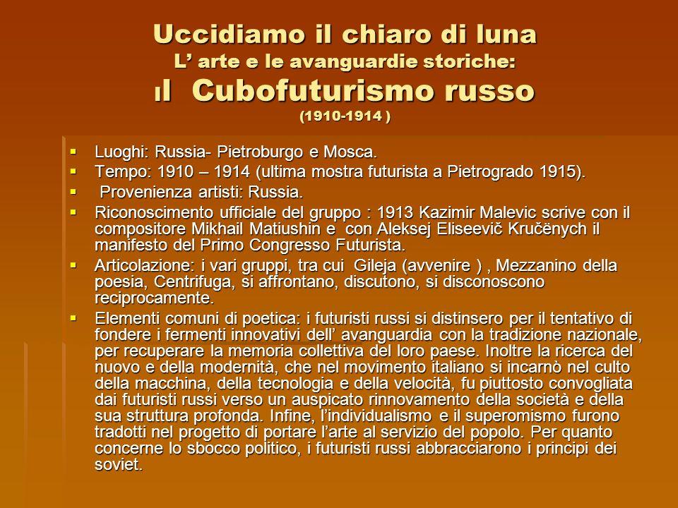 Uccidiamo il chiaro di luna L' arte e le avanguardie storiche: Il Cubofuturismo russo (1910-1914 )