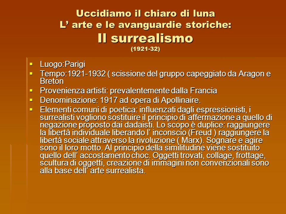Uccidiamo il chiaro di luna L' arte e le avanguardie storiche: Il surrealismo (1921-32)