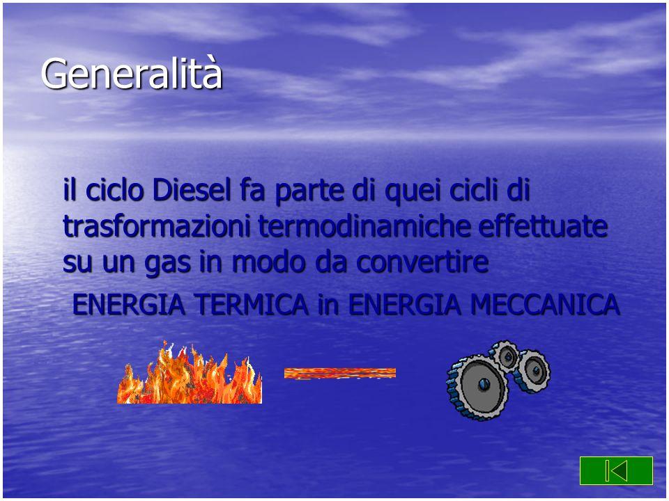 Generalità il ciclo Diesel fa parte di quei cicli di trasformazioni termodinamiche effettuate su un gas in modo da convertire.