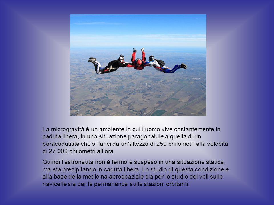 La microgravità è un ambiente in cui l'uomo vive costantemente in caduta libera, in una situazione paragonabile a quella di un paracadutista che si lanci da un'altezza di 250 chilometri alla velocità di 27.000 chilometri all'ora.