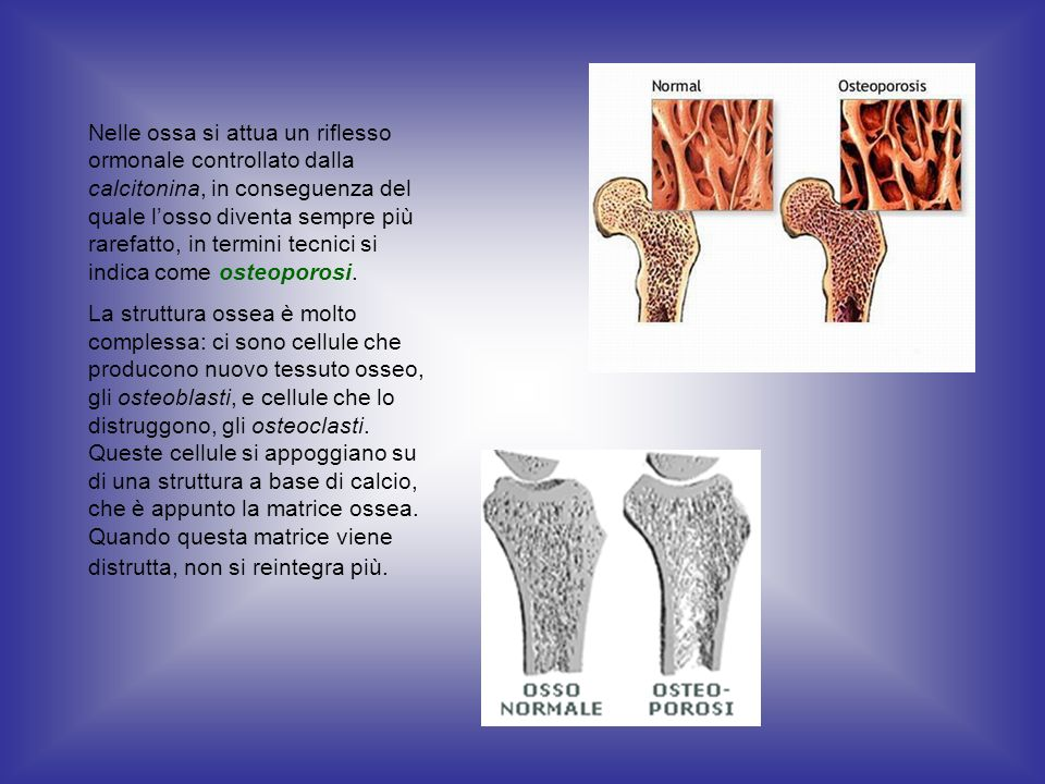Nelle ossa si attua un riflesso ormonale controllato dalla calcitonina, in conseguenza del quale l'osso diventa sempre più rarefatto, in termini tecnici si indica come osteoporosi.