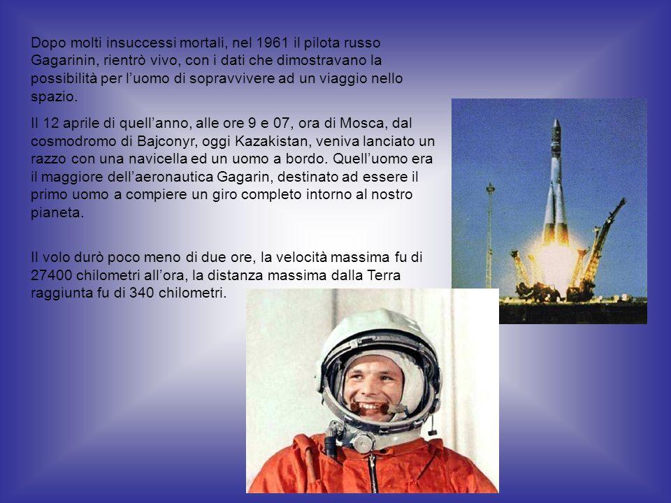 Dopo molti insuccessi mortali, nel 1961 il pilota russo Gagarinin, rientrò vivo, con i dati che dimostravano la possibilità per l'uomo di sopravvivere ad un viaggio nello spazio.