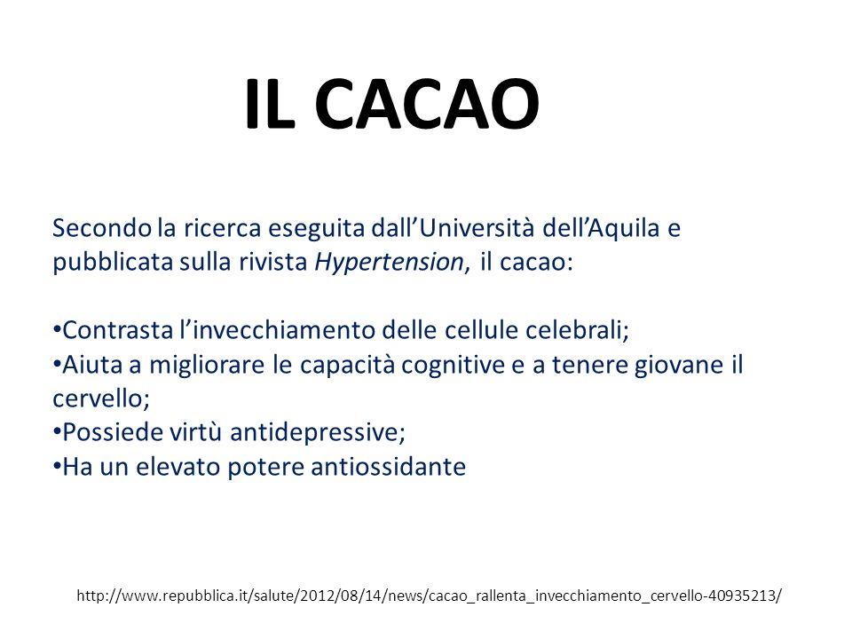 IL CACAO Secondo la ricerca eseguita dall'Università dell'Aquila e pubblicata sulla rivista Hypertension, il cacao:
